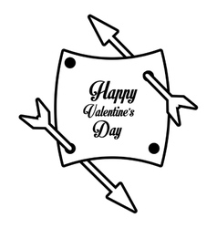 Happy valentines day card arrows with banner vector