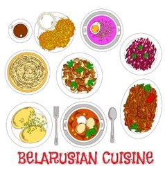 National potato dishes of belarusian cuisine icon vector