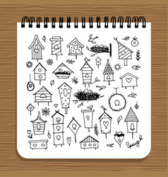 notebook design birdhouses sketch vector image