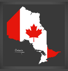 Ontario canada map with canadian national flag vector