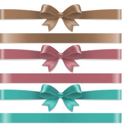 Pastel color bows set vector