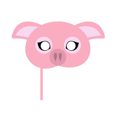 Pink pig domestic animal carnival mask vector