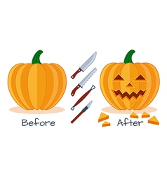 Pumpkin halloween sculpture tools vector image vector image