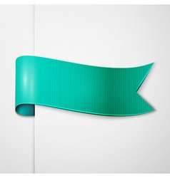 Realistic shiny aqua ribbon isolated on white vector