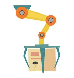 Robotic conveyor with cardboard box icon vector