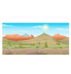 Scene creative desert with plants and mountains vector