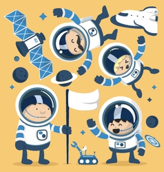 Set character astronauts in space and rocket ships vector