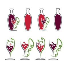 set of wine bottles and wineglasses vector image vector image