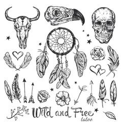 Skull Tattoo Icon Set vector image vector image