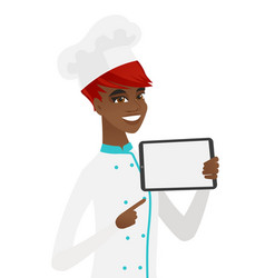 Smiling chef cook holding tablet computer vector