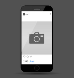 Social network post on mobile phone screen vector