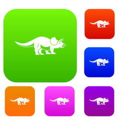 styracosaurus set color collection vector image