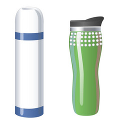 Thermos flask icons tumbler thermo cup isolated vector