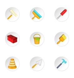 Tools icons set cartoon style vector