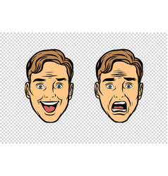 two men face the emotions of fear and joy vector image vector image