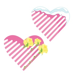 Valentine and yellow rose vector