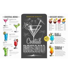 vintage cocktail menu design beverages menu vector image vector image