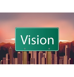 Vision signs on city background vector