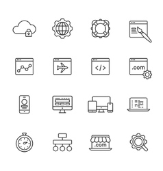 Web development line icons vector