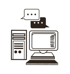 Computer and bubble icon communication design vector