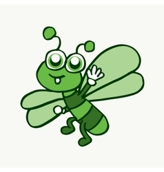 Cartoon funny dragonfly design for kids vector