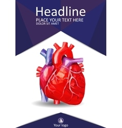 Low poly human heart book cover academic design vector
