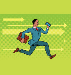 businessman with a smartphone running fast forward vector image