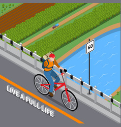 disabled person on bicycle isometric vector image