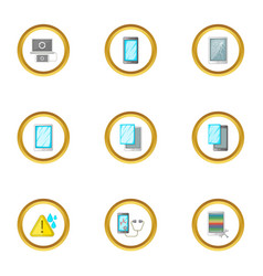 Device repair icons set cartoon style vector