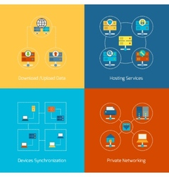 Hosting flat icons vector