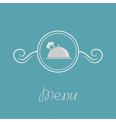 Platter cloch chef hat crown and round frame vector