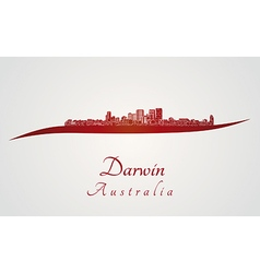 Darwin skyline in red vector