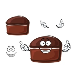 Cartoon brown homemade rye bread character vector
