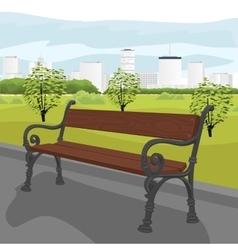 Empty wooden bench in city park in summer vector image