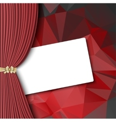 Theater curtain with blank card vector