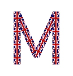 Letter m made from united kingdom flags vector