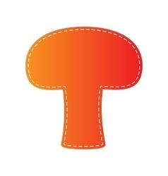 Mushroom simple sign orange applique isolated vector