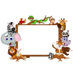 Animal cartoon collection with blank board vector