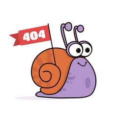 Animated cartoon funny smiling lazy snail logo - vector