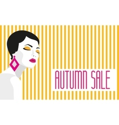 Autumn sale banner fashion girl bold minimal vector