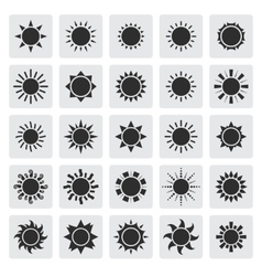 Big black sun icons set vector image