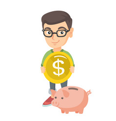 Caucasian boy putting a coin into a piggy bank vector
