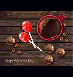 Chocolates and lolipop with coffee realistic vector