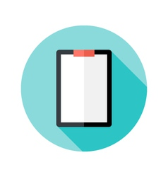 Clipboard with Paper Flat Circle Icon vector image