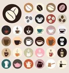 Coffee icons colored vector