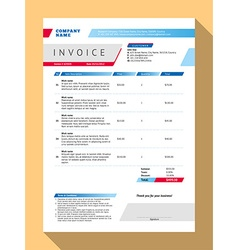 Customizable invoice form template design blue vector