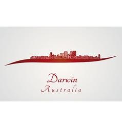 Darwin skyline in red vector