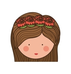 Face woman and crown of roses in medium hair vector
