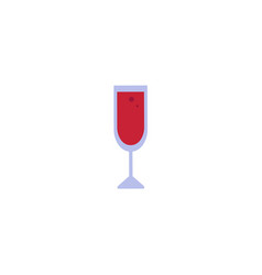 Flat red wine glass icon vector