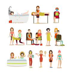 Group of people enjoying spa procedures vector